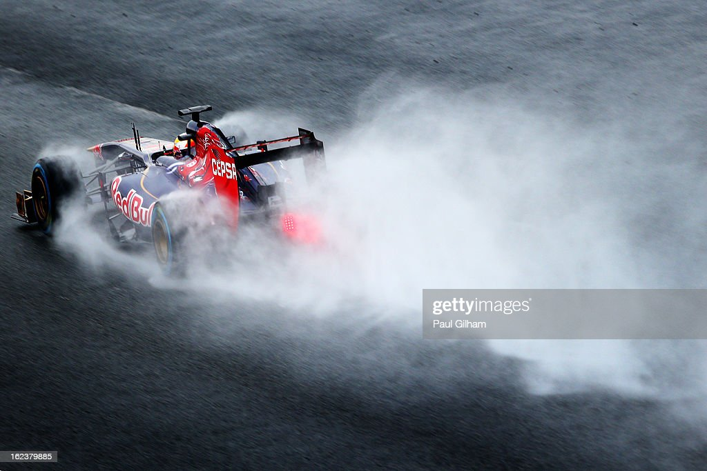 Jean-Eric Vergne of France and Scuderia Toro Rosso drives during day four of Formula One winter tesingt at the Circuit de Catalunya on February 22, 2013 in Montmelo, Spain.