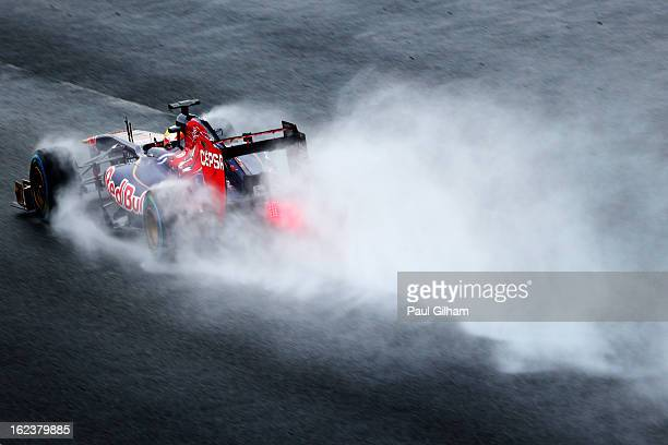 JeanEric Vergne of France and Scuderia Toro Rosso drives during day four of Formula One winter tesingt at the Circuit de Catalunya on February 22...