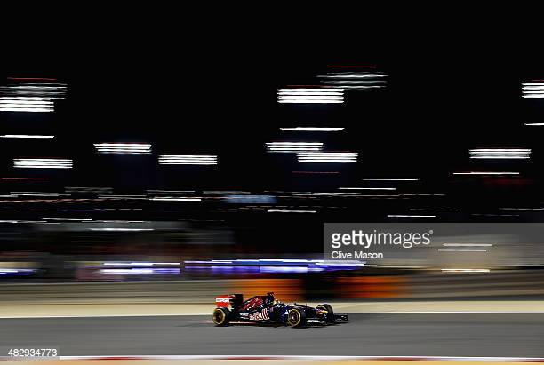 JeanEric Vergne of France and Scuderia Toro Rosso drives during qualifying for the Bahrain Formula One Grand Prix at the Bahrain International...