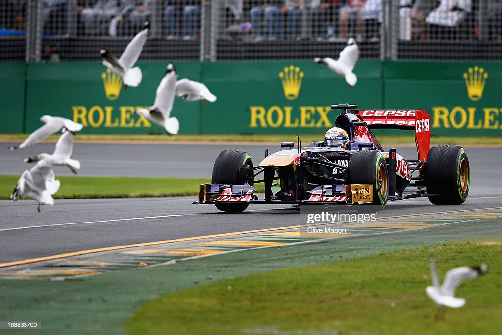 Jean-Eric Vergne of France and Scuderia Toro Rosso drives during the weather delayed qualifying session for the Australian Formula One Grand Prix at the Albert Park Circuit on March 17, 2013 in Melbourne, Australia.