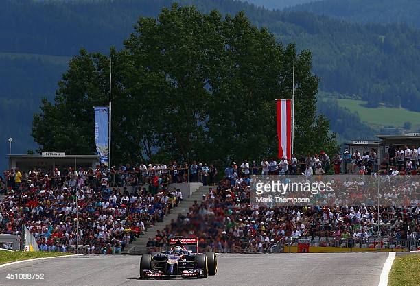 JeanEric Vergne of France and Scuderia Toro Rosso drives during the Austrian Formula One Grand Prix at Red Bull Ring on June 22 2014 in Spielberg...