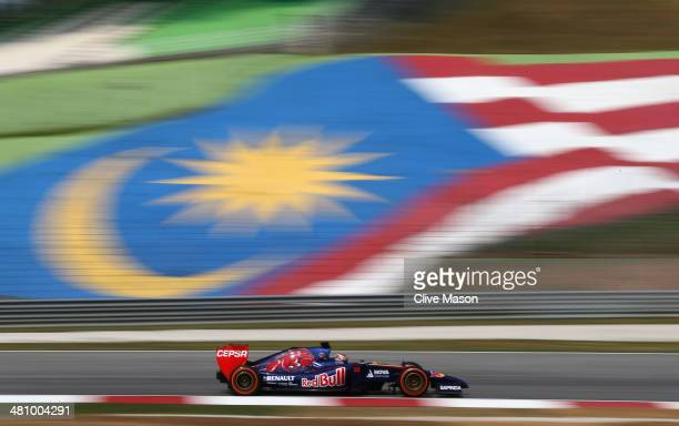 JeanEric Vergne of France and Scuderia Toro Rosso during practice for the Malaysia Formula One Grand Prix at the Sepang Circuit on March 28 2014 in...