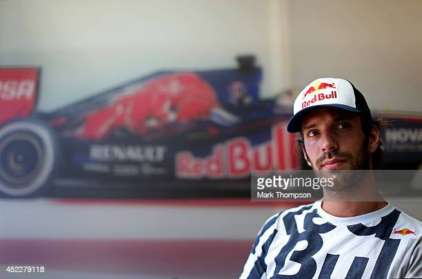 JeanEric Vergne of France and Scuderia Toro Rosso looks on during an interview during previews ahead of the German Grand Prix at Hockenheimring on...