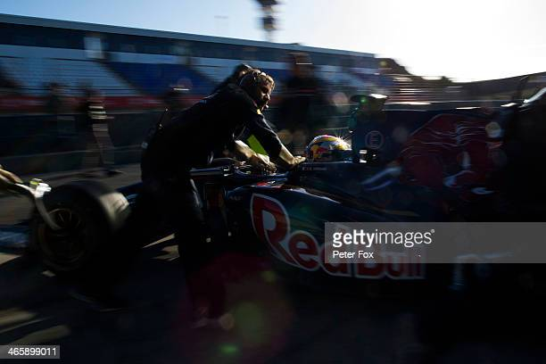 JeanEric Vergne of France and Scuderia Toro Rosso outside his team garage during day three of Formula One Winter Testing at the Circuito de Jerez on...