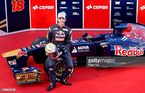 JeanEric Vergne of France and Scuderia Toro Rosso poses during the Toro Rosso F1 STR8 Launch at Circuito de Jerez on February 4 2013 in Jerez de la...
