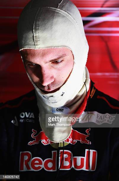 JeanEric Vergne of France and Scuderia Toro Rosso prepares to drive during day two of Formula One winter testing at the Circuit de Catalunya on March...