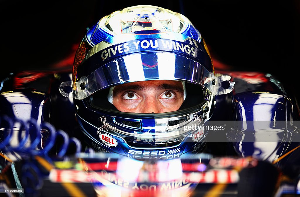 Jean-Eric Vergne of France and Scuderia Toro Rosso prepares to drive during practice for the German Grand Prix at the Nuerburgring on July 5, 2013 in Nuerburg, Germany.