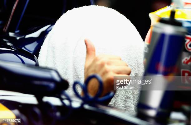 JeanEric Vergne of France and Scuderia Toro Rosso tries to keep cool in his car as he prepares to drive during practice for the Malaysian Formula One...