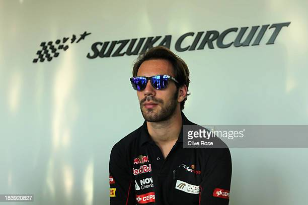 JeanEric Vergne of France and Scuderia Toro Rosso waits to attend the official press conference during previews for the Japanese Formula One Grand...