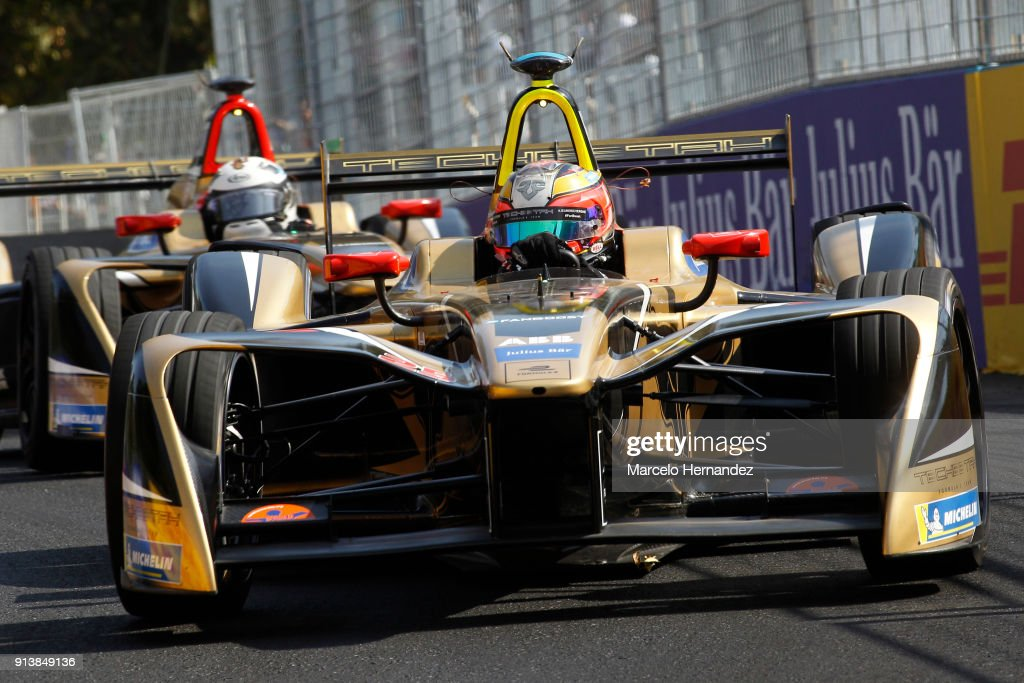 Jean-Eric Vergne of france, Techeetah drives followed by teammate Andre Lotterer of Germany, Techeetah during the ABB Formula-E Antofagasta Minerals Santiago E-Prix on February 3, 2018 in Santiago, Chile.