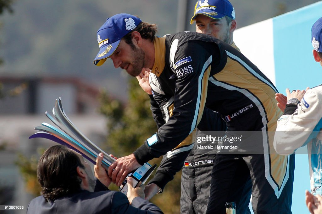 Jean-Eric Vergne of France, Techeetah receives the trophy after winning the ABB Formula-E Antofagasta Minerals Santiago E-Prix on February 3, 2018 in Santiago, Chile.