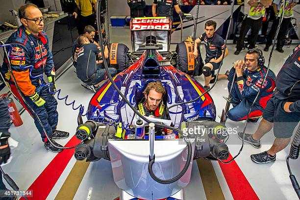 JeanEric Vergne of Toro Rosso and France ahead of the British F1 Grand Prix at Silverstone Circuit on July 5 2014 in Northampton England