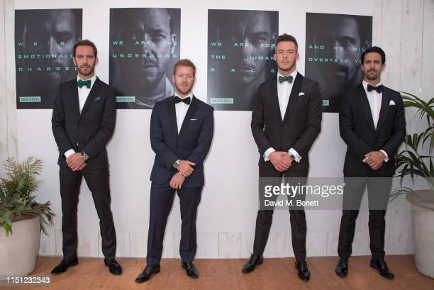 JeanEric Vergne Sam Bird André Lotterer and Lucas di Grassi attend a cocktail party hosted by Alejandro Agag ahead of the World Premiere of the...