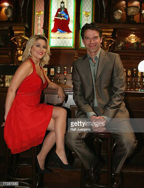 Jeanette Biedermann and Johannes Brandrup attend a photocall for the new SAT1 movie Die Treuetesterin on October 09 2007 in Cologne