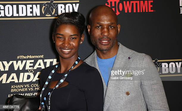 Jeanette Brooklyn Hopkins and her husband WBA/IBF light heavyweight champion Bernard Hopkins arrive at the prefight party for The Moment Mayweather...