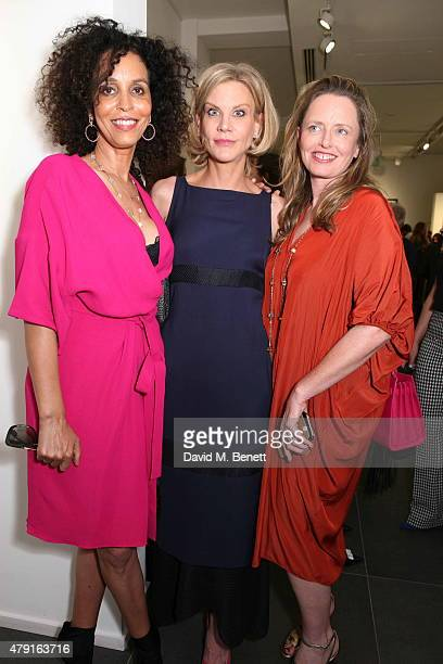 Jeanette Calliva Amanda Staveley and Sarah Stennett attend a private view of Raw Footage at The Opera Gallery on July 1 2015 in London England