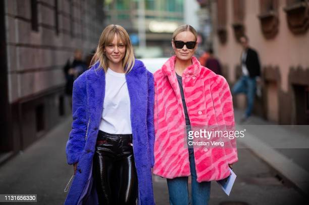 Jeanette Friis Madsen and Thora Valdimars is seen outside Vivetta on Day 2 Milan Fashion Week Autumn/Winter 2019/20 on February 21 2019 in Milan Italy