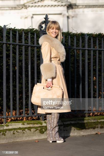 Jeanette Friis Madsen is seen on the street during London Fashion Week February 2019 wearing Victoria Beckham on February 17, 2019 in London, England.