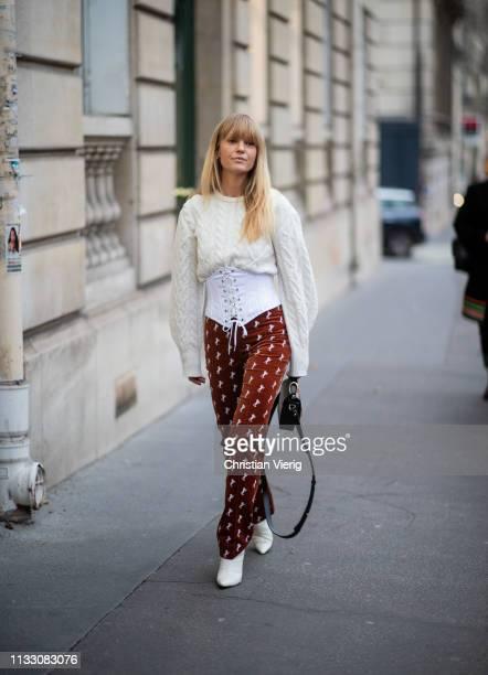 Jeanette Friis Madsen is seen wearing Chloe pants, corset during Paris Fashion Week Womenswear Fall/Winter 2019/2020 on March 01, 2019 in Paris,...