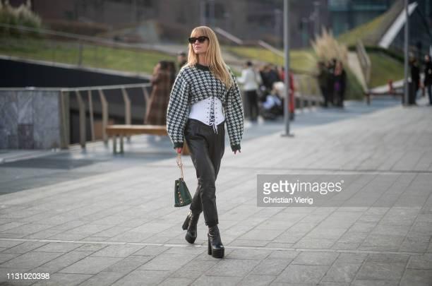 Jeanette Friis Madsen is seen wearing coreset black leather pants outside Alberta Ferretti on Day 1 Milan Fashion Week Autumn/Winter 2019/20 on...