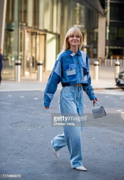 Jeanette Friis Madsen is seen wearing denim jeans checkered cropped jacket outside David Koma during London Fashion Week September 2019 on September...