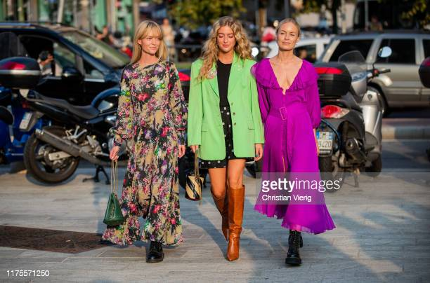 Jeanette Friis Madsen is seen wearing dress with floral print green bag Emili Sinlev is seen wearing shorts with dots print green blazer striped bag...