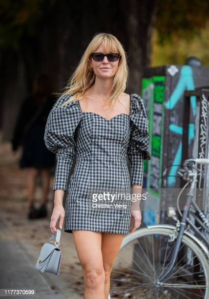Jeanette Friis Madsen wearing grey checkered dress, bag seen outside Y/Project during Paris Fashion Week Womenswear Spring Summer 2020 on September...
