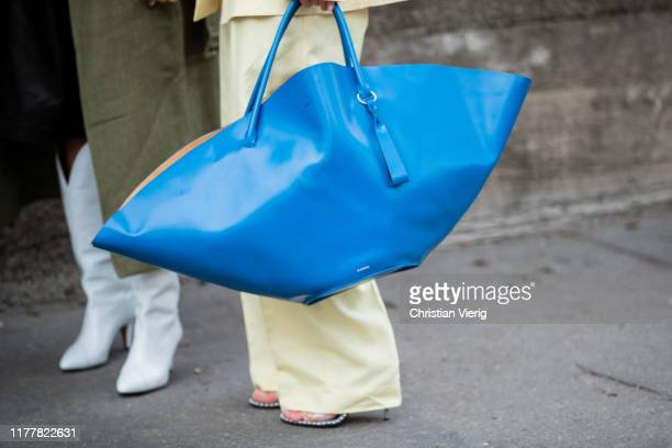 Jeanette Friis Madsen wearing yellow suit blue oversized bag seen outside Haider Ackermann during Paris Fashion Week Womenswear Spring Summer 2020 on...