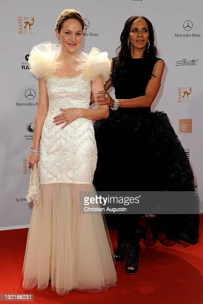 Jeanette Hain and Barbara Becker attend the Red Carpet for the Bambi Award 2011 ceremony at the RheinMainHallen on November 10 2011 in Wiesbaden...