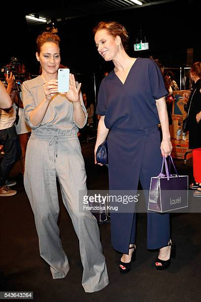 Jeanette Hain and Claudia Michelsen attend the Laurel show during the MercedesBenz Fashion Week Berlin Spring/Summer 2017 at Erika Hess Eisstadion on...