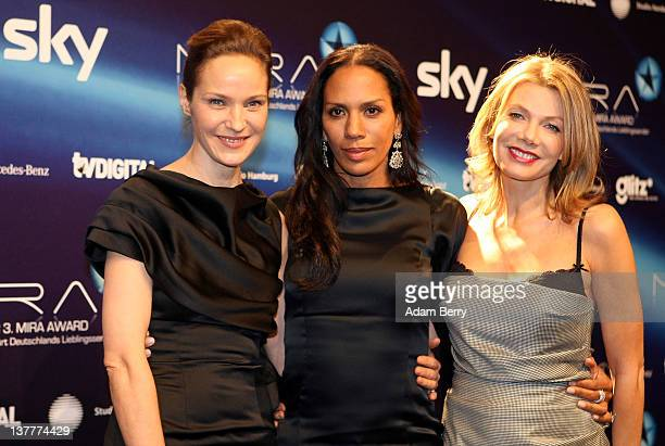 Jeanette Hain Barbara Becker and Ursula Karven arrive for the Mira Awards ceremony at eWerk on January 26 2012 in Berlin Germany The Mira Award is...