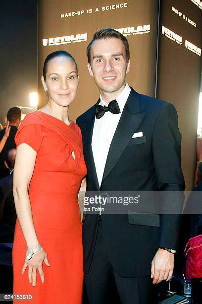 Jeanette Hain Dominik Langer CEO Kryolan poses at the Bambi Awards 2016 party at Atrium Tower on November 17 2016 in Berlin Germany