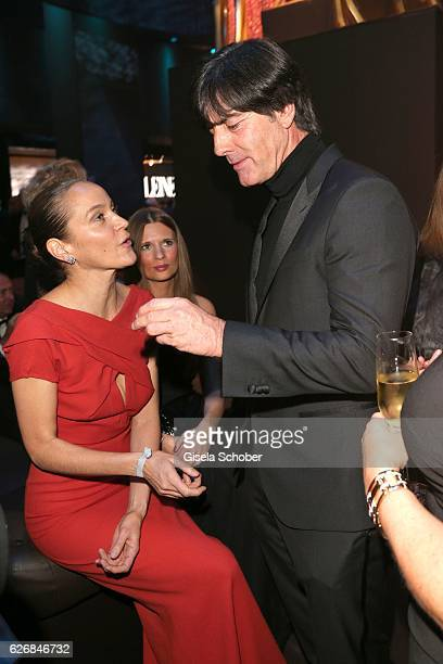 Jeanette Hain guest Joachim Jogi Loew during the Bambi Awards 2016 party at Atrium Tower on November 17 2016 in Berlin Germany