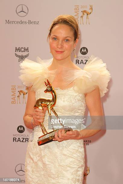 Jeanette Hain poses in front of the winners board during the Bambi Award 2011 ceremony at the RheinMainHallen on November 10 2011 in Wiesbaden Germany