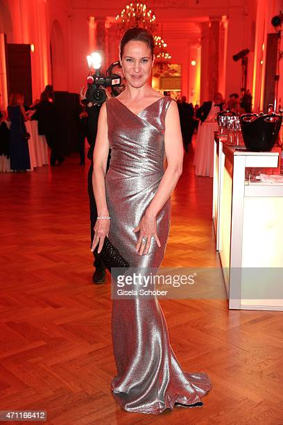 Jeanette Hain wearing a dress by Talbot Runhof during the 26th ROMY Award 2015 at Hofburg Vienna on April 25 2015 in Vienna Austria