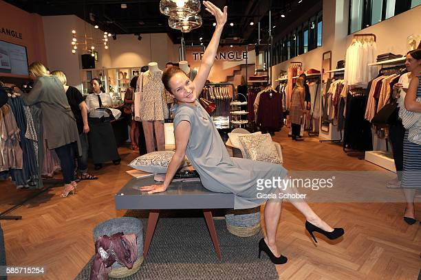 Jeanette Hain wearing a dress by Triangle during the TRIANGLE store opening at Riem Arcaden on August 3 2016 in Munich Germany