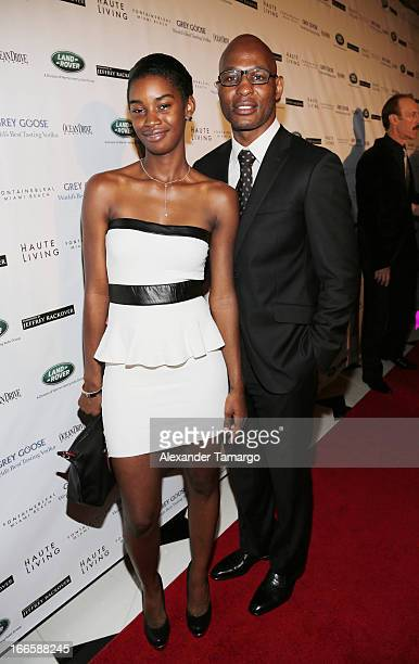 Jeanette Hopkins and Bernard Hopkins arrive at the Blacks' Annual Gala at Fontainebleau Miami Beach on April 13 2013 in Miami Beach Florida