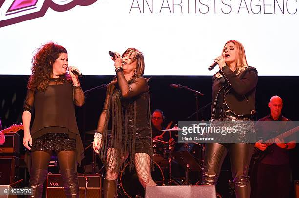Jeanette Jurado Gioia Bruno and Ann Curless of Expose perform at the Paradise Artists Party during day 3 of the IEBA 2016 Conference on October 11...