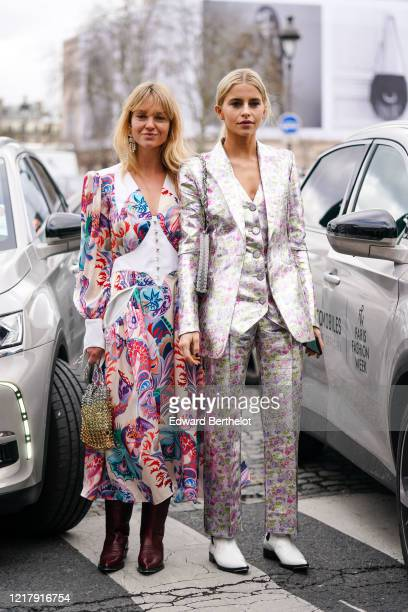 Jeanette Madsen and Caroline Daur are seen outside Paco Rabanne during Paris Fashion Week Womenswear Fall/Winter 2020/2021 on February 27 2020 in...