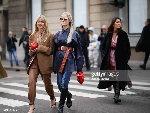 Jeanette Madsen and Thora Valdimars are seen before Sportmax during Milan Fashion Week Fall/Winter 20202021 on February 21 2020 in Milan Italy