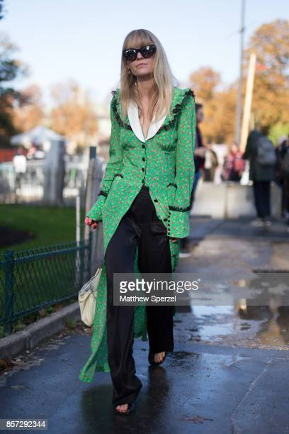 Jeanette Madsen is seen attending Chanel during Paris Fashion Week wearing Chanel on October 3 2017 in Paris France