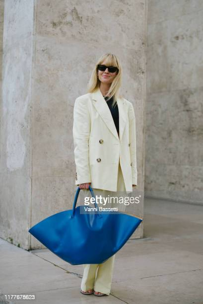 Jeanette Madsen poses after the Aider Hackermann show at the Palais de Tokyo during Paris Fashion Week Womenswear Spring Summer 2020 on September 28...