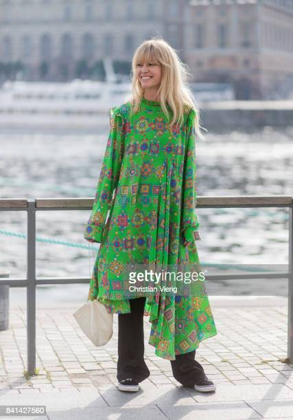 Jeanette Madsen wearing green dress outside House of Dagmar on August 31 2017 in Stockholm Sweden