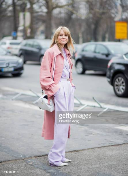 Jeanette Madsen wearing pastel colors is seen outside Paco Rabanne on March 1 2018 in Paris France