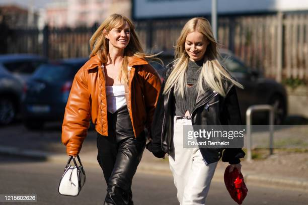 Jeanette Madsen wears a white bustier top, black leather crop pants, a tan-color leather puffer jacket, a Prada white and black handbag ; Thora...