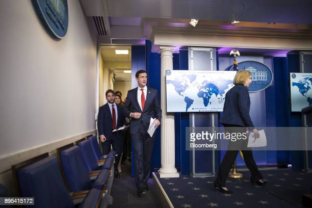 Jeanette Manfra assistant secretary for cybersecurity and communication at the Department of Homeland Security right and Tom Bossert assistant to US...