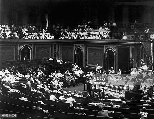 Jeanette Rankin makes her first speech to the United States House of Representatives previously a prominent suffragette Rankin was the first woman...