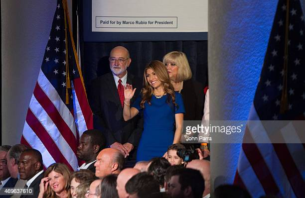 Jeanette Rubio is seen on stage after US Florida Senator Marco Rubio announces his candidacy for the Republican presidential nomination At The...