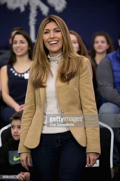 Jeanette Rubio wife of Republican presidential candidate Sen Marco Rubio attends a campaign rally for her husband at the North Charleston Coliseum's...