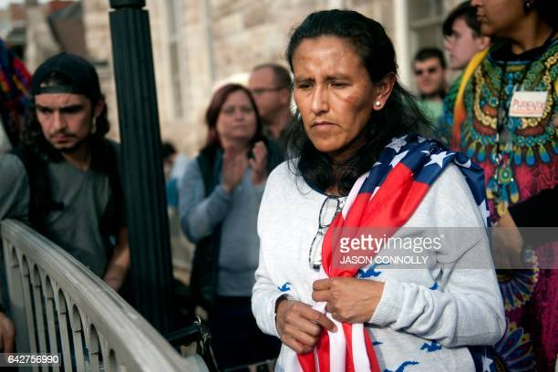 Jeanette Vizguerra an undocumented Mexican mother of three US born children to supporters gathered outside the First Unitarian Church in Denver...
